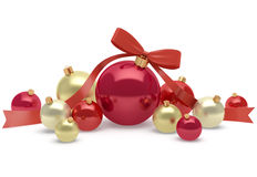 Garnering för jul och för nytt år av ljusa och skinande bollar Arkivbilder