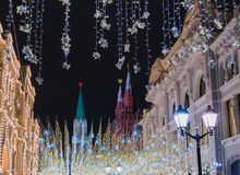 Garnering för jul och för nytt år i Moskva Arkivbilder