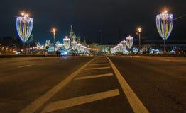 Garnering för jul och för nytt år i Moskva Royaltyfri Foto
