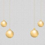 Garnering för jul och för nytt år med guld- pilbågar, bandet och julbollar som isoleras på genomskinlig bakgrund vektor illustrationer