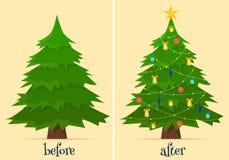 Garnering för julgran före och efter Gran i skog och i rum med gåvor och ljus vektor illustrationer