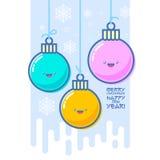 Garnering för Kawaii Xmas-träd Färgrik Xmas-bollvykort glad jul vektor illustrationer