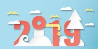Garnering 2019 för lyckligt nytt år på blå bakgrund Vektorillustration med kalligrafidesign av numret i pappers- klippt och digit vektor illustrationer