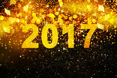 Garnering för nytt år, Closeup på guld- bakgrunder Arkivfoton