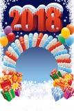 Garnering för nytt år med ballonger royaltyfri illustrationer
