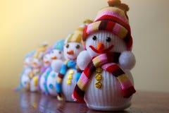 Garnering för nytt år, snögubbear Royaltyfri Fotografi