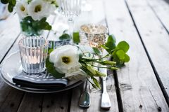 Garnering för sommarbrölloptabell Fotografering för Bildbyråer