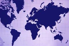 Garnering för vägg för världskartbok i marinblå och pastellfärgad lilafärg stock illustrationer