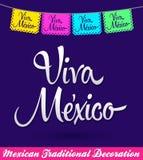 Garnering för Viva Mexico mexikansk ferievektor Royaltyfri Bild