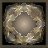 Garnering för guilloche för rambakgrund guld- på svart Royaltyfria Bilder
