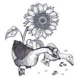 Garnering med fågeln och blommor Realistisk hand som drar den hönsgäss och solrosen som isoleras på vit bakgrund vektor vektor illustrationer