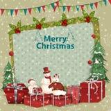 Garnering och gåva för glad jul och lyckligt nytt år stock illustrationer