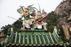 Garnering och stil f?r kines f?r inredesign av den Tiantan templet f?r folkloppbes?k p? Shantou eller Swatow i Chaozhou, Kina arkivfoto