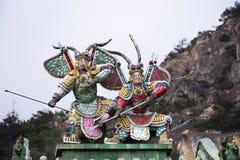 Garnering och stil f?r kines f?r inredesign av den Tiantan templet f?r folkloppbes?k p? Shantou eller Swatow i Chaozhou, Kina fotografering för bildbyråer