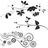 garneringar blommar swirl vektor illustrationer