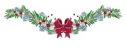 Garneringar för glad jul och för lyckligt nytt år med bandet, pilbåge, vektor illustrationer