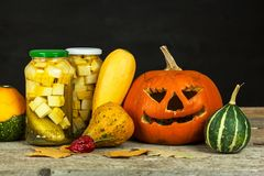 Garneringar för Halloween Pumpor och grönsaker Autumn Harvest Arkivbilder
