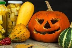 Garneringar för Halloween Pumpor och grönsaker Autumn Harvest Arkivfoton