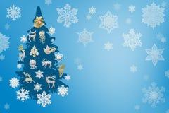 Garneringar för jul och för nytt år: Christmassy gran-träd med sn Royaltyfri Foto