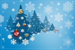 Garneringar för jul och för nytt år: Christmassy gran-träd med sn Arkivbilder