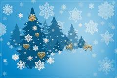 Garneringar för jul och för nytt år: Christmassy gran-träd med sn Royaltyfri Fotografi