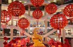 Garneringar för lykta för nytt år för Pavillion galleria härliga kinesiska royaltyfri fotografi