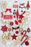 Garneringar och symboler av jul Arkivfoton