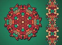 Garneringcirkel och psykedelisk sömlös modell. vektor illustrationer