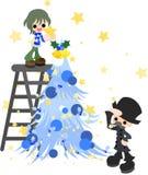 Garneringen av den blåa julgranen Royaltyfri Bild