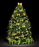 garneringgran för jul 3d framför treen Royaltyfri Foto