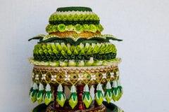 Garneringmagasin av thailändska traditionella bröllopgåvor Arkivfoto