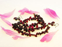 Garnet Beads On A White Background Royalty Free Stock Photo
