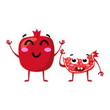 Garnet. Cute fruit vector character couple isolated on white background. Funny emoticons faces. Illustration. Stock Images