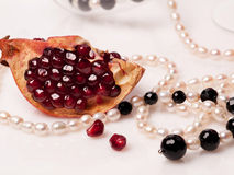 Garnet food bead white Stock Image