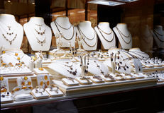 Garnet jewelry shop. Window display royalty free stock images