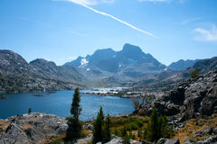 Garnet Lake and Banner Peak on the John Muir Trail in Ansel Adams Wilderness Royalty Free Stock Images