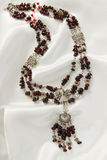 Garnet necklace Stock Photography