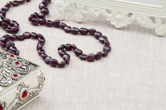 Garnet necklace Stock Image