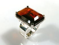 Garnet ring. Ring with red garnet set in silver Stock Photography