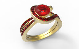 Garnet ring. 3D render illustration of a garnet ring. The composition is  on a white background with shadows Royalty Free Stock Image