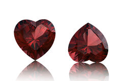 Garnet shape of heart. Valentinr's Day symbol Stock Photos