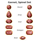 Garnet, Spinel Set With Text. Garnet, Spinel Set different cut - round, drop, oval, boat and octagon. Brilliant three-dimensional jewelry on a white background Stock Photo