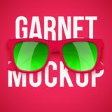 Garnet sunglasses on Garnet background. Summer vacation or shopping sale advertisement. Editable Vector Illustration Royalty Free Stock Photo