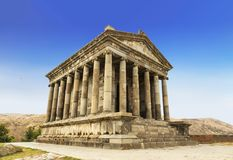 Garni寺庙-一个异教的寺庙在亚美尼亚在1世纪广告被兴建由亚美尼亚国王 图库摄影