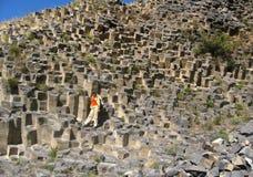Garni玄武岩峡谷看法在亚美尼亚 免版税库存照片