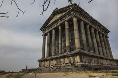 Garni,亚美尼亚- 2017年9月16日:Garni异教的寺庙, tem 免版税库存照片