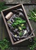 Garni bouquet natural organic herbs seasoning bunch with scissors Stock Photo