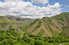 Garni gorge. Located in Armenia, near the village of Garni. It is represented by a high-five, mostly hexagonal basalt columns Royalty Free Stock Image