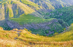 The Garni gorge. Panorama of basalt columns formtion, famous as the Symphony of the Stone, located in Garni gorge, Kotayk Province, Armenia Stock Photography