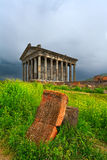 Garni pagan Temple among the green vegetation (Armenia) Royalty Free Stock Photo